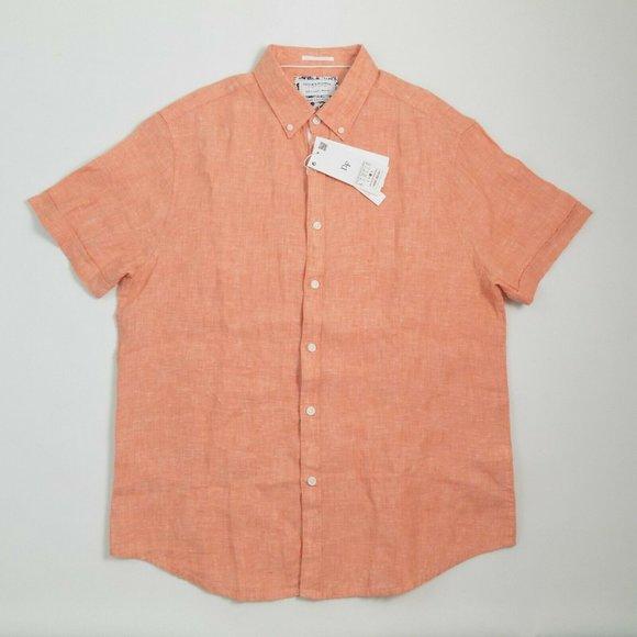 S-XL Denim And Flower Men/'s Slim Fit Button Down Short Sleeve 100/% Linen Shirt